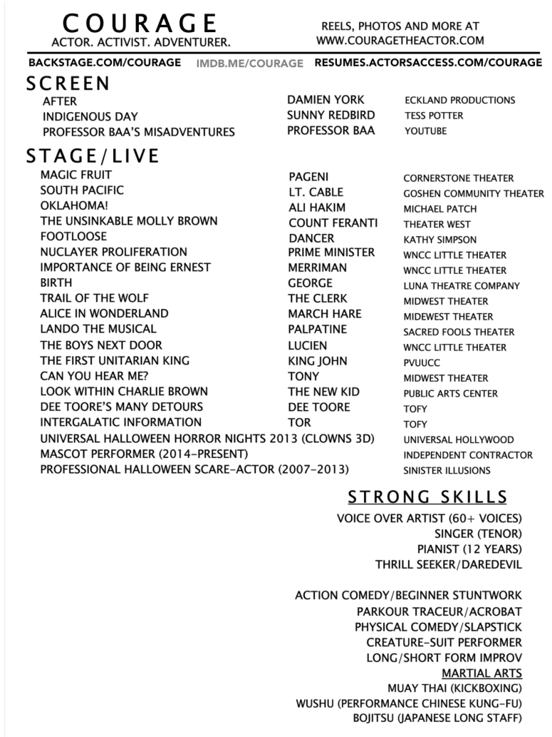 courage the actor resume
