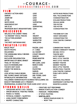 2 courage the actor resume